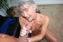 Granny jerked young stud and drain his balls