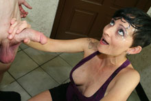 Goth chick with short hair Ivy Reins gives hand job and gets face jizzed