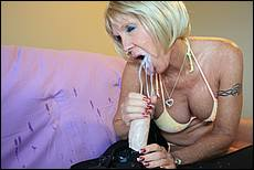 Sexy grandma Mrs. Honey Ray bribes Billy for fucking her best friend Sally and lets him cum all over her face
